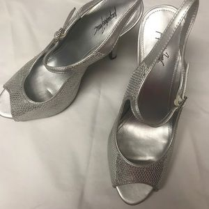 Shoes - Silver metallic peep toe heels with ankle strap